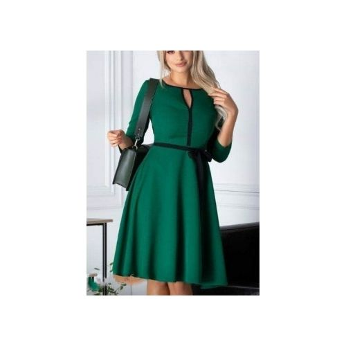 Green Skater Dress With Black Trimming