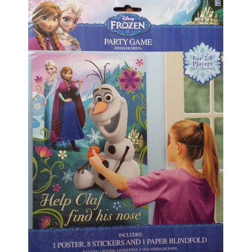DISNEY FROZEN PIN THE NOSE ON OLAF PARTY GAME 2-8 PLAYERS
