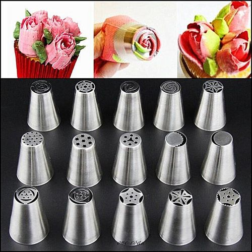 32 Kinds Of Decorative Tools F Russian Tulip Sugar Coating Pipe Nozzle Stainless Steel Point Cake
