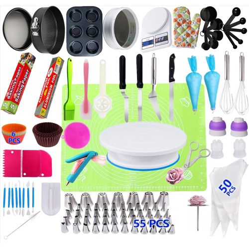 223 Pcs/set Cake Turntable Piping Tip Nozzle Pastry Bag Set