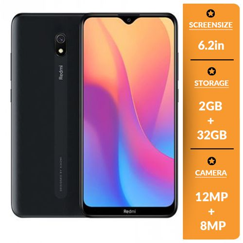 Redmi 8A 6.22-Inch (2GB RAM, 32GB ROM) Android 9.0 Pie, 12MP+8MP 5000mAh 4G LTE Dual SIM Smartphone - MIDNIGHT BLACK