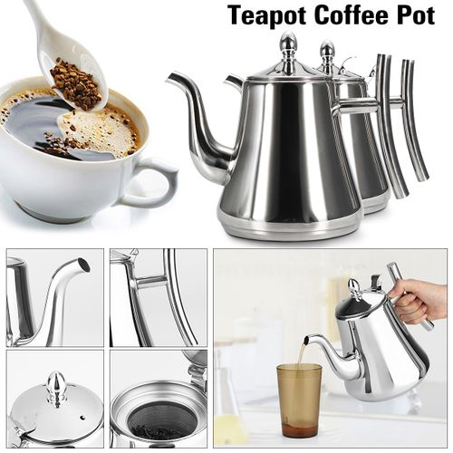 Stainless Steel Teapot Coffee Tea Pot Infuser Kettle W/Removable Strainer Filter