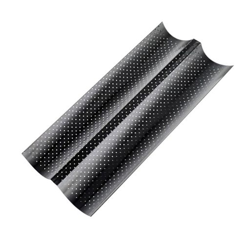 Home-2 Groove Wave French Bread Baking Tray Carbon Steel Mold For Baguette Bake Pan Black