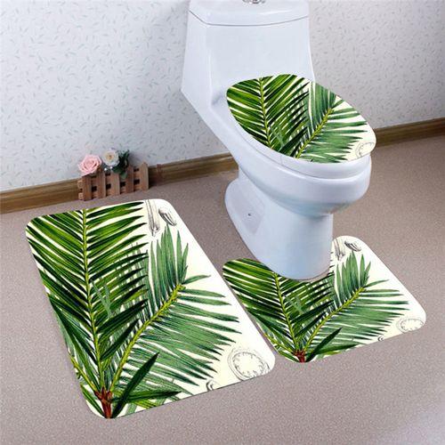 3PCS Print Bathroom Non-Slip Pedestal Rug Lid Toilet Cover Bath Mat Set Washable