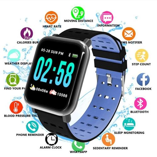 Smart Watch Supports For Heart Rate Monitor--Blue