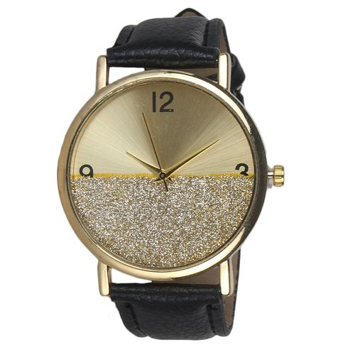 Female Leather Wrist Watch With Gold Design - Black