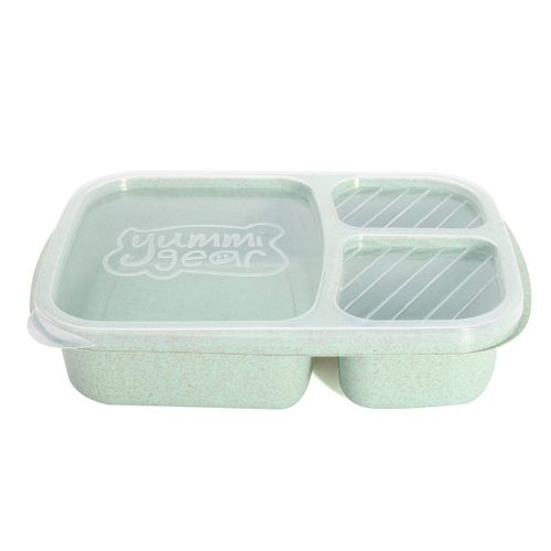 3 Compartment Microwave Bento Lunch Box Picnic Food Containers Fruit Storage Box #green