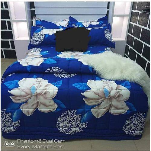 Blue Flower Bedsheet With Pillow Case.