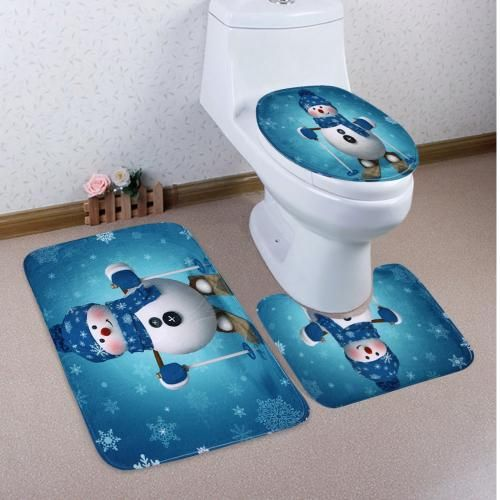 Snowman Skiing Pattern 3 Pcs Toilet Mat Bath Mat - Lake Blue