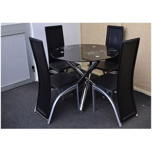 Round Black Dinning Table + 4 Leather Chairs