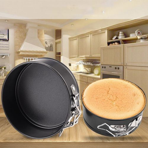 Round Tin Non Stick Spring Form Loose Base Baking Pan Tray