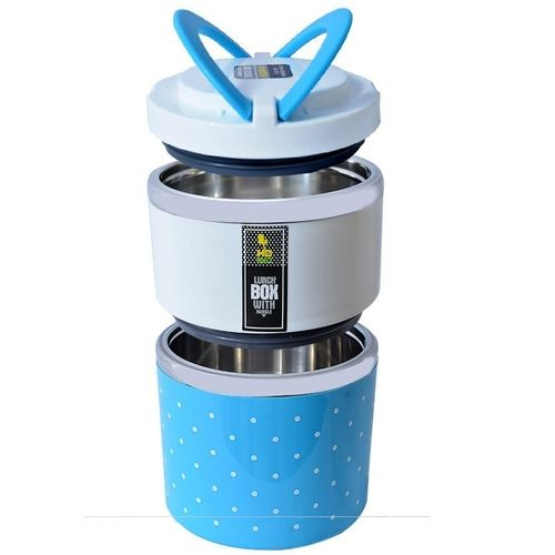 Double Layer Food Flask 930ml - Blue/White