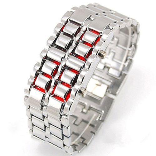Luxury Unisex Full Metal Digital Lava Wrist Watch - Silver