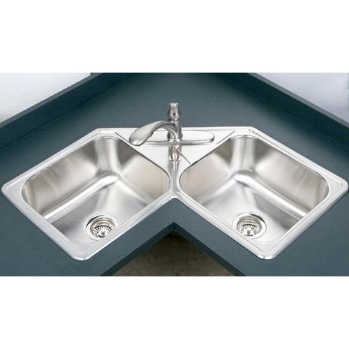 DOUBLE BOWL CORNER SINK WITH WASTE