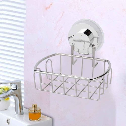 Bathroom Suction Cup Basket Free Punch Stainless Steel Shower Caddy Storage Shelf Stand Holder