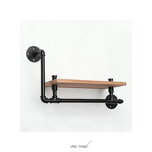 Retro-Industrial Pipe-Wood Floating Rack Retro-Wall Hanging Rack Unit