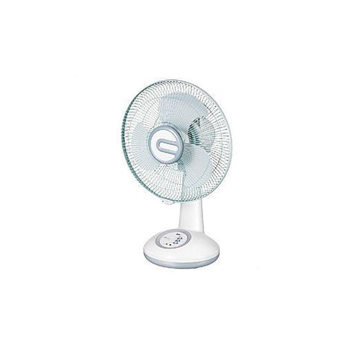 RECHARGEABLE TABLE FAN WITH USB & LED LIGHT (12 INCHES)