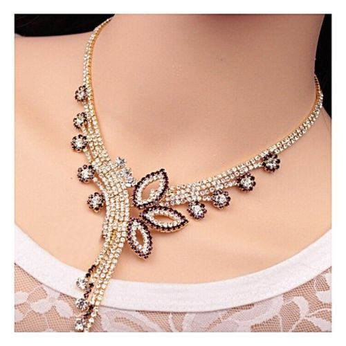 Crystal Rhinestone Collar Choker Necklace + Earrings - Gold