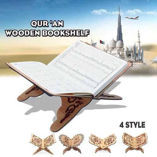 Ramadan Eid Wooden Bookshelf Book Holder Stand For Islamic Prayer Arts