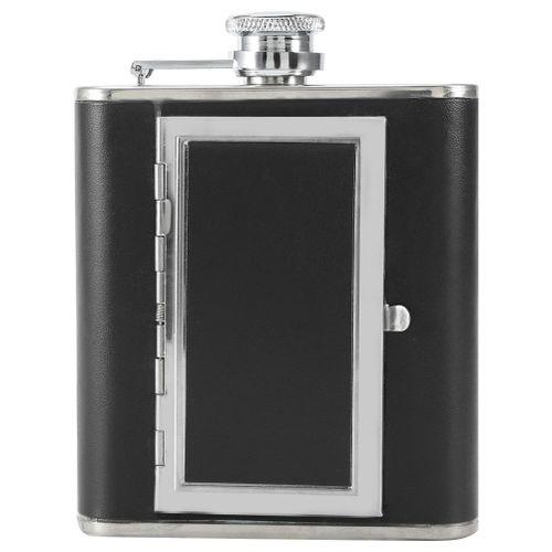 Portable Stainless Steel Liquor Wine Alcohol Flagon Bottle Creative Cigarette Case New Black
