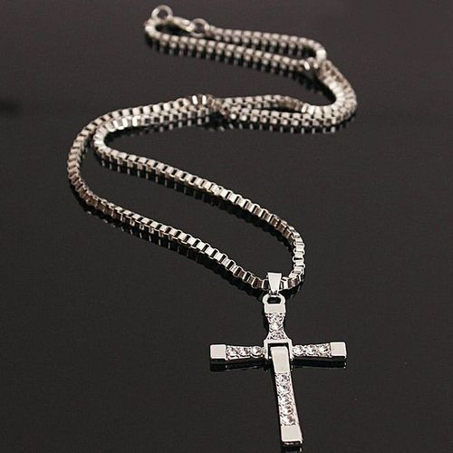 Men Fast And Furious Cross Pendant Chain Necklace - Silver