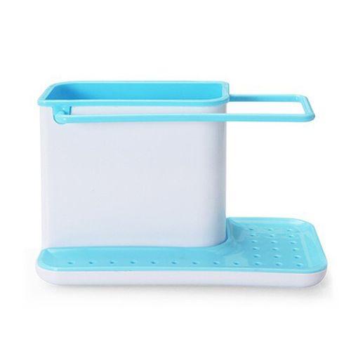 Plastic Racks Organizer Caddy Storage Kitchen Sink Utensils Holders Drainer Blue