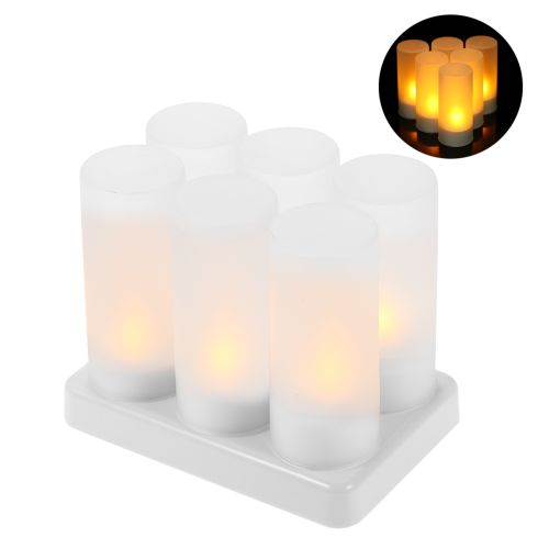 6pcs/set Rechargeable LED Flickering Flameless Candles