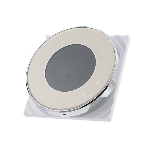 BECA Programmable Round Fan Coil Thermostat 95~240VAC Four Pipe Heating/Cooling Touch Screen 5+2 Weekly Data Memory Air Conditioner With LCD Digital Display