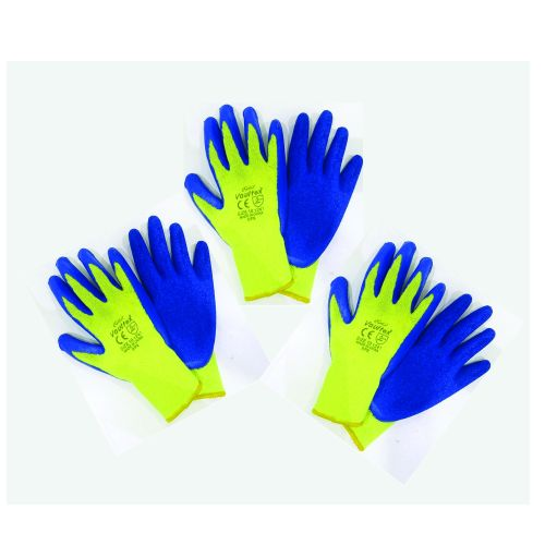 LATEX COATED GLOVES (Yellow & Blue) - 3 PAIRS