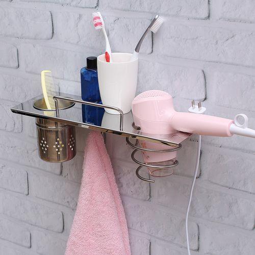 Stainless Steel Bathroom Shelf Hair Dryer Rack Holder Towel Racks
