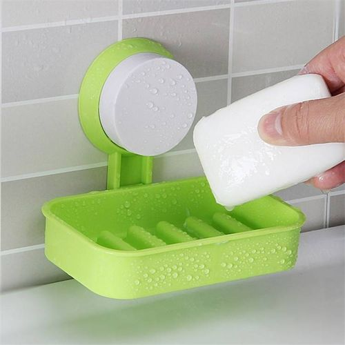 Plastic Suction Cup Double Layers Soap Dish Wall Mounted Holder