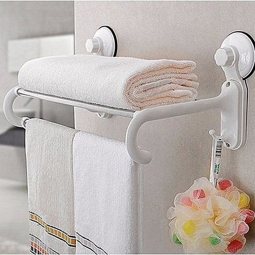 Bathroom Double Rail Towel Sponge Rack With Suction Cups