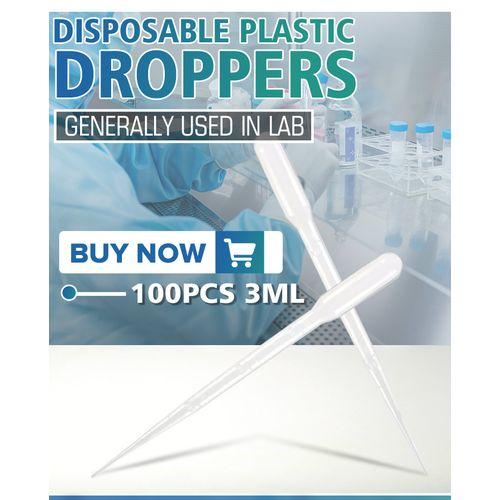 100Pcs 3ml Plastic Eye Dropper Disposable Graduated Transfer Oils Pipettes Set