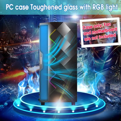 Gaming PC Computer Case USB 3.0 RGB LED Tempered Glass