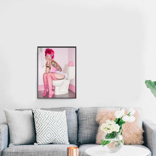 Picture Canvas Frame Drawing PS Frame Pink Women Home Decor
