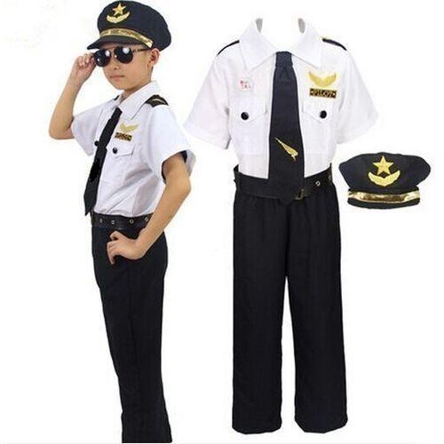 Kids Pilot Costume Set White & Black