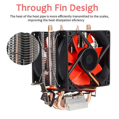 Mini CPU Cooler 2 Heatpipe 2 Cooling Fan Radiator For LGA