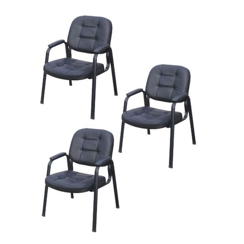 4L Visitors Leather Chair - Set Of 3