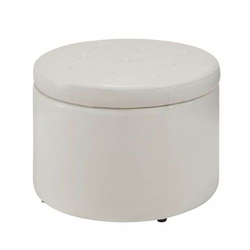 Handys - Round Shoe Ottoman - White (Delivery Within Lagos Only)