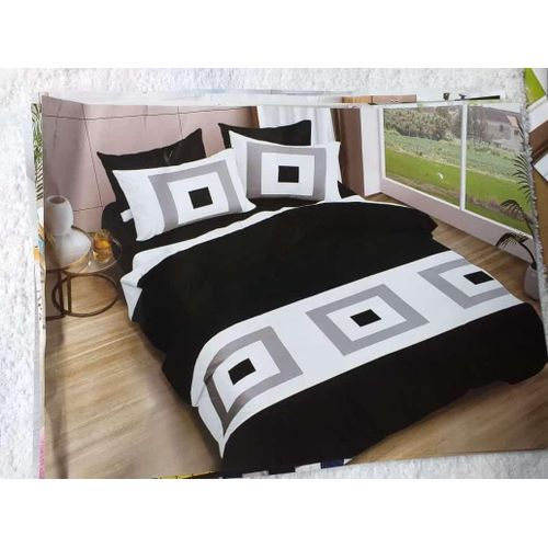 Black And White Bedsheet With Pillowcases