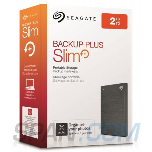 New Seagate Back-UP Plus Slim External Hard Disk Drive For Laptops Black 2TeraByte(2TB).