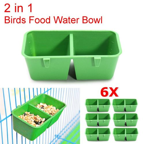 6X 2 In 1 Hamster Cage Dual Feeding Cups Parrot Bird Food Water Bowl Feeder