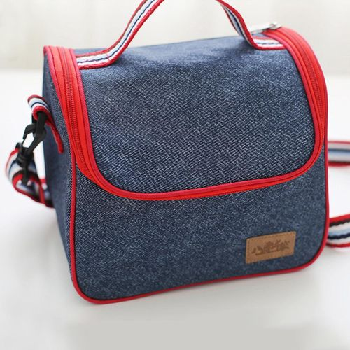 Portable Heat Insulated Denim Thermal Bag Cooler Food Box Lunch Storage