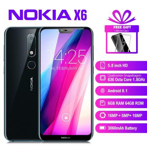 "product_image_name-Nokia-X6 (6.1 Plus) 5.8"" (6GB RAM, 64GB ROM) Android 8.1, (16MP+5MP) + 16MP, 3060mAh, Hybrid Dual SIM 4G LTE Smartphone - Blue-1"