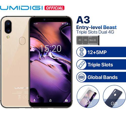 A3 5.5-Inch HD+ Quad Core (2GB+16GB ROM) Android 8.1 Oreo, 12MP + 5MP Dual SIM 4G Smartphone