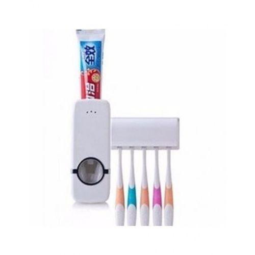 Toothpaste Dispenser & Toothbrush Holder-{ White..