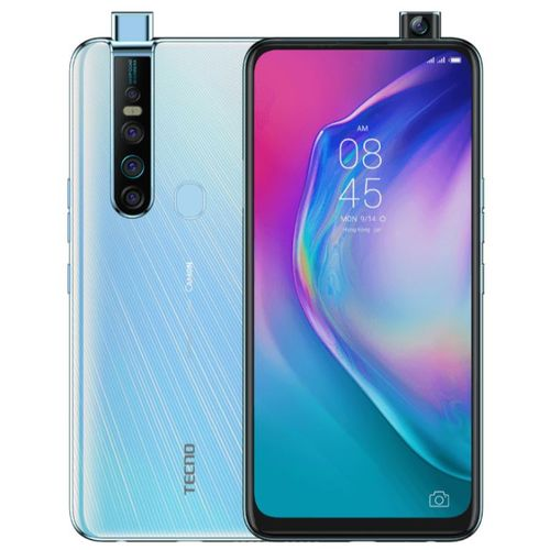 "Camon 15 Premier (CD8J) 6.6"" Fullview, 64MP Quad Rear + 32MP Pop-Up Camera, 6GB RAM+128GB ROM, Android Q(10), 4G - White"