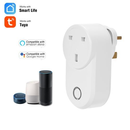 Home Socket WIFI Smart Socket UK Plug Wireless Outlet Support Timing Function Phone APP Remote Control Voice Control Compatible With Amazon Alexa/Echo&Google Home,White 1 Pack