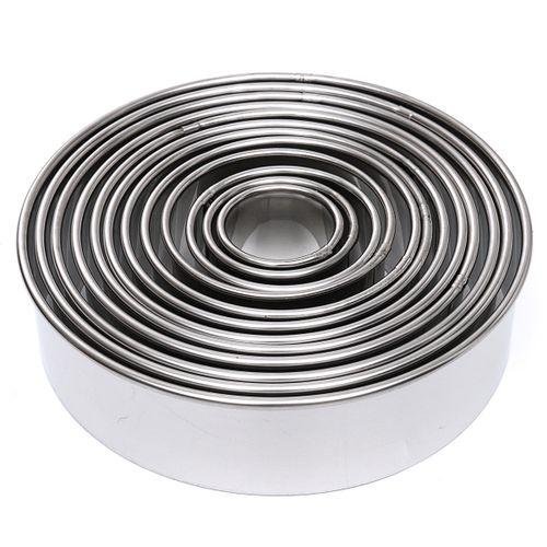 12Pcs Round Mousse Cake Cookie Ring Mold Baking Cutters Stainless Steel Mould
