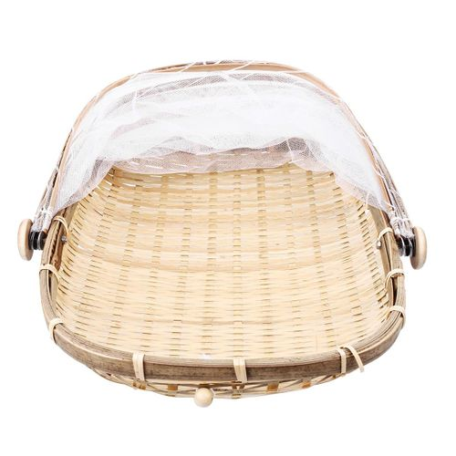 Bamboo Tent Basket Serving Food Outdoor Picnic Pop Up Mesh Screen Net Cover